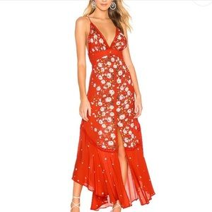 Free People Red Paradise Print Maxi Dress